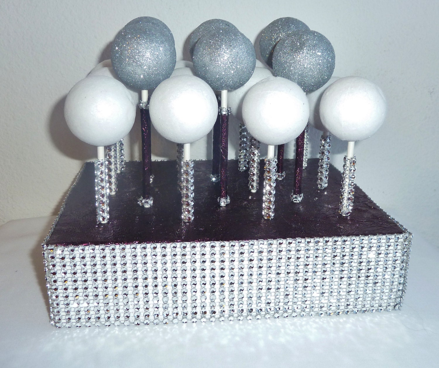 eggplant plum purple bling rhinestone wedding cake pop stand