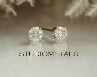 Diamond Earrings, Diamond Stud Earring, 3mm Diamond Post Earrings, Diamond Studs, 14K White Gold Earrings, Mens Diamond Stud Earrings, E152