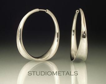 Silver Hoop Earrings, Sterling Silver Earrings, Hoop Earrings, Hammered Earrings, Large Silver Hoops, E157