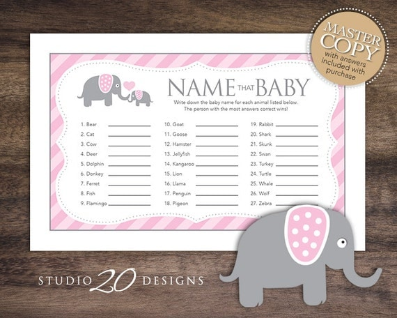 Instant Download Pink Elephant Baby Shower Games for Girl