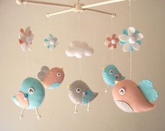 "Baby crib mobile, Bird mobile, felt mobile, nursery mobile, baby mobile, girl mobile ""Bird - Aqua and Blush"""