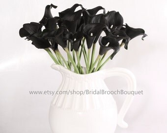 Calla Lily bouquet  black 20pcs latex Real Nature Touch Flowers Bridal Bouquet Wedding Bouquet with Scent same as real flower for DIY KC58