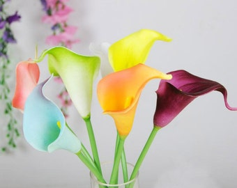 100pcs  Cally Lily Real Nature Touch Flowers for DIY Bridal Bouquet Wedding Bouquet with Scent high quality 10color