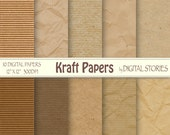"Kraft digital paper: ""Craft Papers"" Craft, Textured Papers in natural colors for scrapbooking, invites, cards, background"