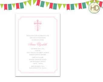 Pink Cross Invitation, First Holy Communion Invitation, Communion Party, Christening Invitation, Baptism Invitation Printable
