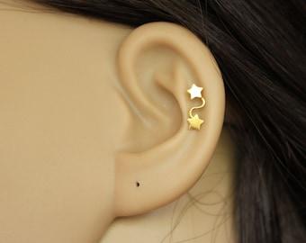 Star cartilage earring, Gold Star stud earring, Silver Cartilage, double star cartilage, tiny cartilage earring, ear climber, pierced.