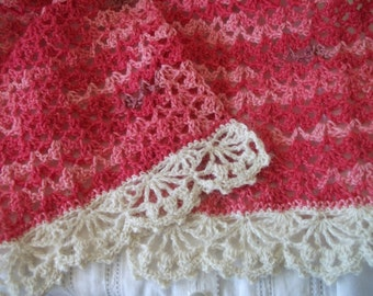 Rose pink lacy crochet scarf Valentine's Gift