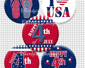 """INSTANT DOWNLOAD 1"""" 4th of July bottle cap images #3 - 4 X 6 Digital Collage Sheet Cup cake topper Necklace Independence Day"""