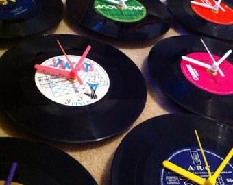 """Recycled 7"""" Vinyl Record Quartz Clock"""