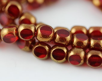 6mm Antique Style Triangle Cut : Bronze / Siam Ruby  Czech Glass Beads (25)