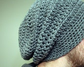 Men's crochet Slouchy Beanie -  hat -  cap -  red,  black,  Blue,  gray