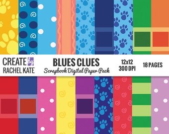 Blues Clues Inspired Digital Scrapbook Paper Pack Papers Pages Sheets Patterns