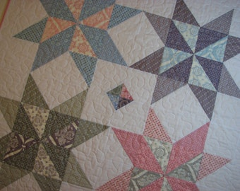 Baby Girl Quilt , Pastel Stars , Traditional Baby Quilt , Quiltsy Handmade
