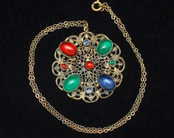 Multi Colored Cabs Filigree Pendant Chain Necklace Czech Vintage
