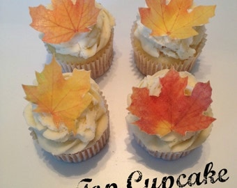 Beautiful Fall Leaf Edible Cupcake Toppers