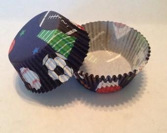 Sports Print Cupcake Liners