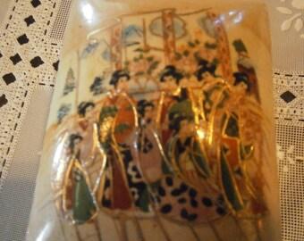 Geisha Girl Moriage Trinket Box, 60s,China, Jewelry Box