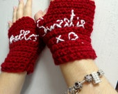 Doctor Who River Song Fingerless Gloves, Crochet Hello Sweetie Cosplay Mitts, River Song Valentine's Gift
