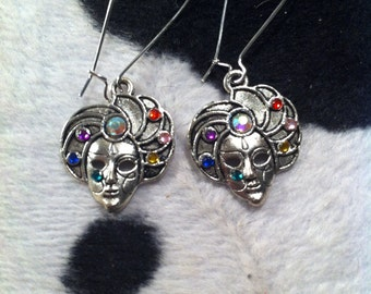 Rainbow Masquerade Mask Earrings