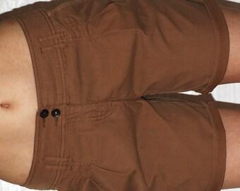High Waist Mustard Shorts / Classic Cotton Summer Festival Shorts / sz Medium