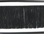"""By the Yard-DOUBLE STRAND-6"""" Black Chainette Fabric Fringe Lampshade Lamp Costume Trim"""