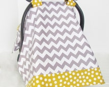 Infant Car Seat Cover, Baby Canopy, Grey and White Chevron and Mustard Yellow Polka Dot