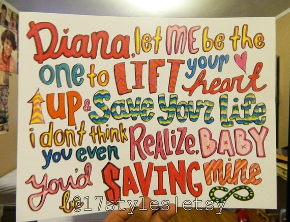 One Direction Diana Lyric Drawings Diana One Direction Lyrics