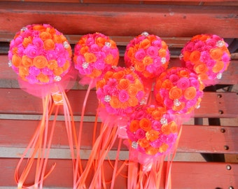 XL Handmade Paper Wedding Bouquet Bride or Bridesmaids Bouquet ANY Colors Free matching Boutonniere Hot Pink and Orange