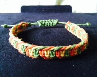 Macrame Hemp Bracelet Green Yellow and Orange Handmade and Adjustable