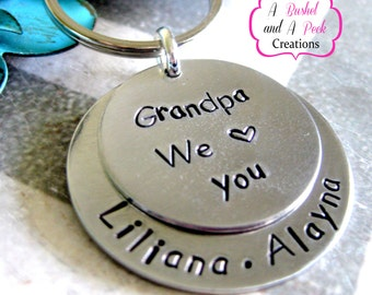 Custom Hand stamped Key Chain for Mom/Dad/Grandma/Grandpa