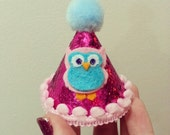 Owl Party Themed Birthday Hat Hot Pink Glitter and Light Pink Trim with Light Blue Pom Pom Topper