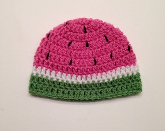 Crochet Watermelon Hat, Photography Prop - made to order