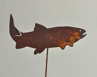 """11"""" 1/2   X  5""""  rusted metal Pacific NW Cutthroat on a 26"""" or 8""""  stake"""