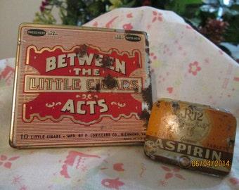Vintage Cigar Tin, Genuine RX12 Aspirin Tin, Advertising Memorabilia, Between The Acts Little Cigar Tin, Made in USA