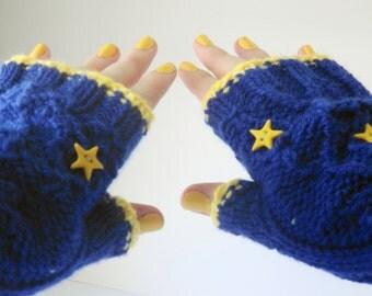Royal blue armwarmers, fingerless gloves, sapphire blue gloves