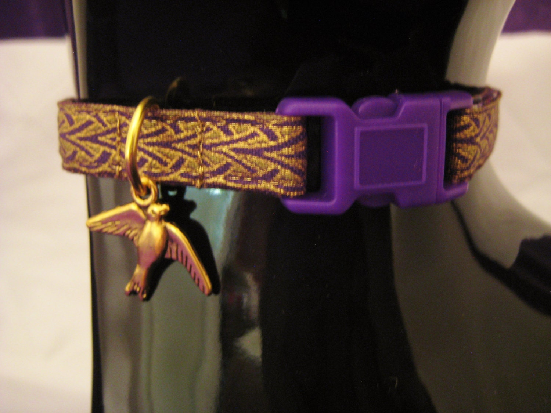Cat Collar Bastet Egyptian Braid Purple Gold Metallic