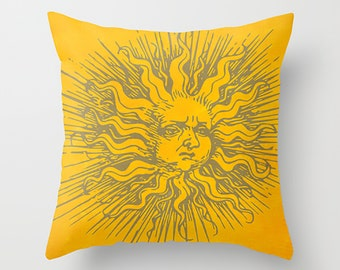 Sun Pillow Cover Yellow Pillow Sunshine Pillow Summer Pillow Decorative Pillows Throw Pillow
