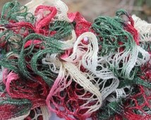 Red, White and Green Ruffled Scarf - Sundance Holiday Frill Victorian Christmas