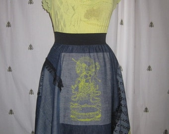 Dress or tunic T40-42, made of pieces of jean United and printed with yellow cotton