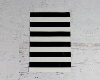 """12 Black and White Horizontal Stripe Paper Gift Bags, Middy Bitty Bags, 5"""" X 7 1/2"""".  Favor Bags, Party, Wedding, Candy, Treats"""