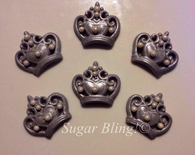 Silver Fondant Crowns.