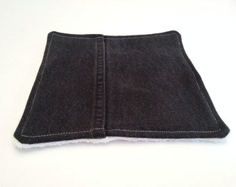 Black Hot Pad /  Upcycled Denim Pot Holder / Dish Rag / Repurposed Denim Patchwork / Plush ORGANIC Terry Cloth / Eco Friendly Gift