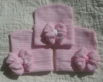 Hospital Newborn Beanie, Pink and White striped hat, Newborn's First Bow, Newborn hat with bow, newborn girl hospital hat