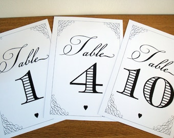 Table Number Set - 1 to 10; vintage style wedding table numbers