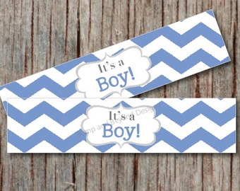 INSTANT DOWNLOAD It's a Boy Water Bottle Labels Baby Shower Supplies Printable Baby Shower Favors Water Bottle Labels Ocean Blue Chevron 002