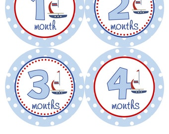 Monthly Baby Stickers Baby Month Stickers Boy Red Blue Boat Sailboat Monthly Sticker Sailing Baby Shower Gift Photo Prop Logan2 RTS