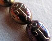 Glass Scarab Beads, 10 Pieces, Purple Iris Czech Glass