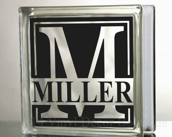 Monogram Decal for glass blocks personalized custom tile mirror DIY glass block Monogram Custom Personalized Decal