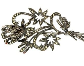 Vintage 925 Sterling Silver & Genuine Marcasite Swirling Flower Brooch Pin