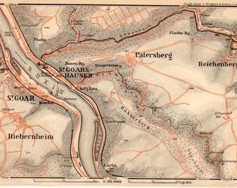 1909 Sankt Goar, Germany, Antique Map, Rhein-Hunsrück-Kreis, Rhineland-Palatinate, Rheinfels, St. Goar, Deutschland, Rheinland-Pfalz
